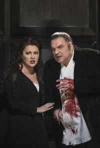 MACBETH PRODUCTION IMAGE Anna Netrebko as Lady Macbeth and Željko Lučić as Macbeth 2018 ROH Photograph by Bill Cooperjpg